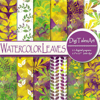 "Watercolor digital paper ""Watercolor Leaves"", scrapbooking, watercolor background, pattern, invitations cards collage purple yellow green"