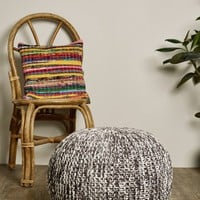 Grey and White Knit Floor Pouf