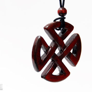 Celtic Shield Knot Necklace - Carved Wood Celtic Jewelry - Cristherart Celtic Knot Pendant
