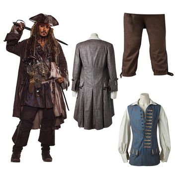 Cool Captain Jack Sparrow Costume Pirates of the Caribbean Cosplay Dead Men Tell No Tales Salazar's Revenge Jacket Halloween AdultAT_93_12