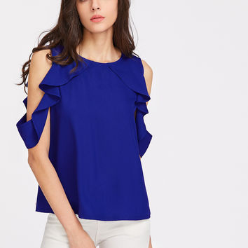 Royal Blue Cold Shoulder Blouse