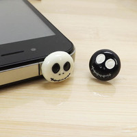 A pair Cute Jack Skellington Ghost Anti Dust Plug 3.5mm Phone Dust Stopper Earphone Cap Dustproof Plug Charms for iPhone 4 4S 5 HTC, Samsung