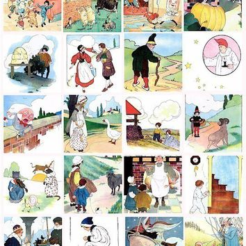 Mother Goose nursery rhymes childrens book clip art  2 inch SQUARES digital download collage sheet
