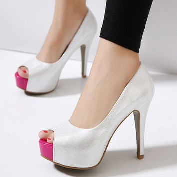 Peep Toe High Heel Shoes = 4804959236