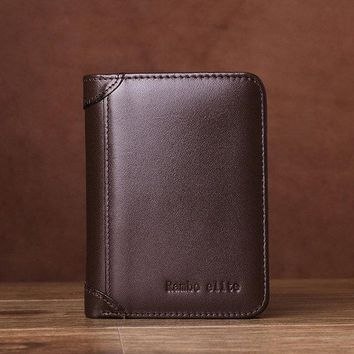 Retro Genuine Leather Zipper Pocket Trifold Wallet For Men