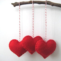 Valentine's Day Decor Red Heart Eco Felt Ornaments - Christmas Tree Ornament - Holiday Decoration