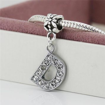 1Pc Alloy Bead Charm European letter of the alphabet Silver Plated Beads Fit Women pan