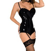 Twisted Latex Retro Bodysuit with Suspenders - Joanna Lark Bondage Gear Store - BDSM harnesses, bondage toys, posture collars and leather lingerie