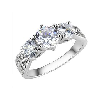 Trio Of Affection - Women's Rhodium Plated Brass Trio Of Clear CZ Stones Ring