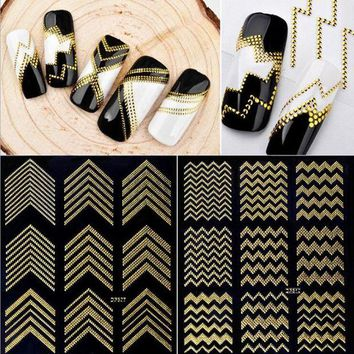DCCKLO3 Gold Metal 3D Nail Stickers Stripes Wave Line DIY Nail Art Adhesive Manicure Transfer Sticker Water Slide Nail Tips Stickers