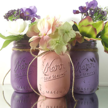 Pink and Purple, set of Three, Hand Painted Mason Jars - Rustic Home Decor - Pint Mason Jars