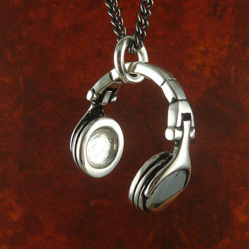 "Headphones Necklace Antique Silver Headphones Pendant on 24"" Gunmetal Chain"