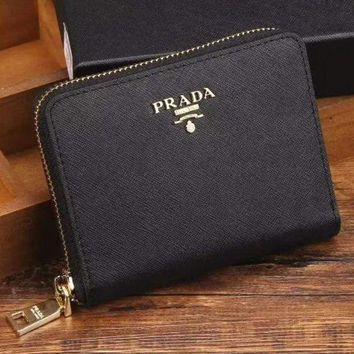 PEAPJ3V Prada Women Fashion Leather Zipper Wallet Purse-4