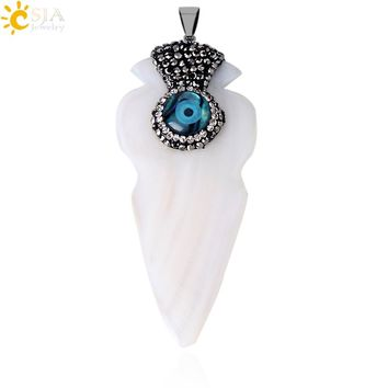 CSJA Natural White Mother of Pearl Sea Shell Arrowhead Necklace Pendants Turkish Blue Evil Eye Rhinestone Beads Men Jewelry E602