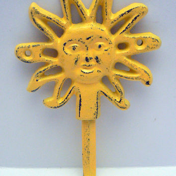 Sun Hook Bright Lemon Yellow Cast Iron Distressed Shabby Chic Wall Coat Towel Hat Key Leash Hook Sunshine Spring Summer Wall Decor