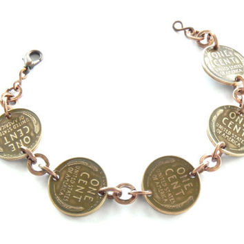 Copper Coin Bracelet // Wheat Penny Bracelet // Coin Jewelry // Lucky Penny Bracelet