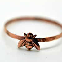 Rose Gold Honey Bee Ring, 14K Rose Gold Fill Band, Insect Jewelry, Rose Gold Ring,