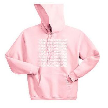 Unisex 1-800 Hotline Bling Drake light pink Sweatshirt Hoodies Women/Men autumn Hooded  Pink Pullover Hipster Outfits Oversize