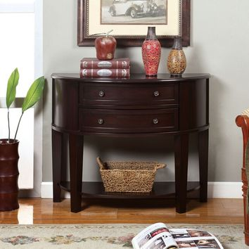 Chanti collection contemporary style style espresso finish wood console table with 2 curved front drawers Clearance