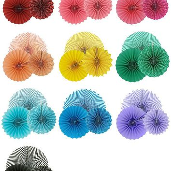 Flower Paper Fan Striped Dot Tissue Crafts Decor | Paper Party Fans| Baby Shower| Birthday Party Paper Rosettes | Paper Fan Back Drop