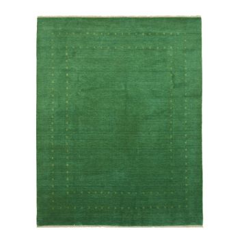 EORC Handmade Wool Green Traditional Solid Lori Baft Rug