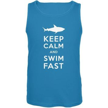 CREYCY8 Shark Keep Calm and Swim Fast Turquoise Adult Tank Top