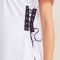 Urban Renewal Recycled Lace-Up Side Corset Tee | Urban Outfitters