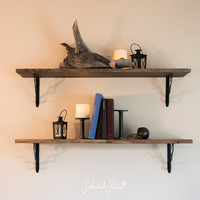 Rustic Shelves - Sold Individually - Ornate Brackets Pictured - Wooden Accent Shelf - Industrial Chic - Rustic Modern Decor - Upcycled Wood