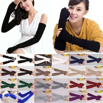 DCCKDZ2 40cm Spring Winter Women Ladies Girl Long Cashmere Blend Fingerless Gloves Arm Sleeve Warmers Mittens Arm Warmers