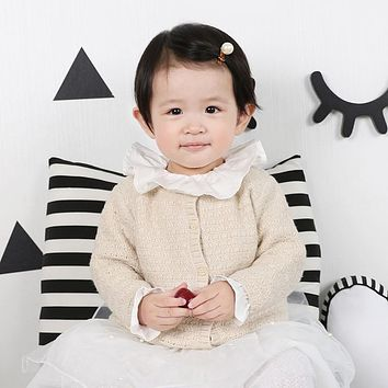 2017 Autumn Knitted Round Neck Button Leisure Jacket Coat Baby Cotton Wool Warm Coat Jacket for Baby Boys Girls K5