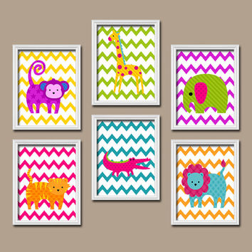 Jungle Wall Art Girl Boy Nursery Canvas Artwork Child Elephant Monkey Alligator Lion Giraffe Tiger Animal Chevron Set of 6 Prints Bedroom