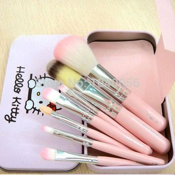 DCCKHY9 Hot sale Hello Kitty 7 pcs Mini Makeup brush Set cosmetics kit make up tools for eyeshadow blush with Metal box.