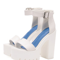 White Lug Sole Open Toe Platform Chunky Sandals -SheIn(Sheinside)