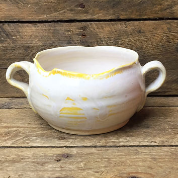 Handcrafted Ivory & Yellow Small Pottery Bowl with Two Side Handles