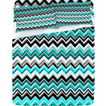 DENY Designs Home Accessories | Madart Inc. Turquoise Black White Chevron Sheet Set
