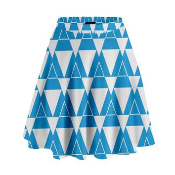 Blue & White Triangle Pattern High Waist Skirt