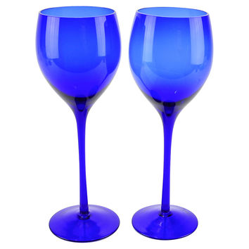 Cobalt-Blue Blown Wine Glasses, Pair