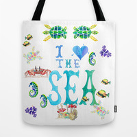 I Love the Sea Tote Bag by Catherine Holcombe