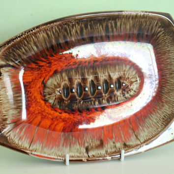 Lovely Vintage Retro Lava Glaze Brown, Orange, Red Ceramic Ashtray, Japan Pottery