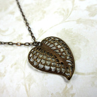 Natural Brass Necklace, Brass Heart Pendant