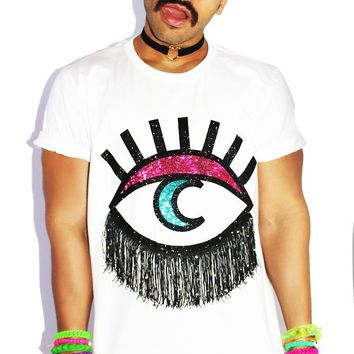 Moon Eye Fringe Oversize Tee-White