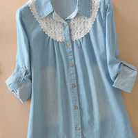 Fresh Blue Loose Lace With Denim Shirt
