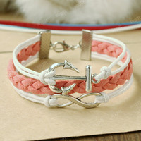 Anchor Bracelet -Infinity Bracelet.white and pink mixed colors combination bracelet gift for your GF
