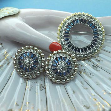 OTIS STERLING Vintage Art Deco Silver, Faux Pearl, Clear and Sapphire Blue Rhinestone Brooch and Clip Earrings Set Demi, Pristine!  #A658