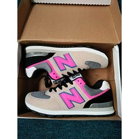 """New Balance"" Fashion Casual All-match N Words Breathable Couple Sneakers Shoes Grey pink-N"
