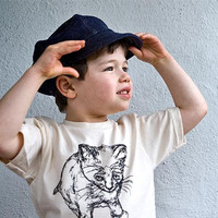 Kid Newsboy Cap in Organic Blue Denim Size M 5yo 6yo by purepixie