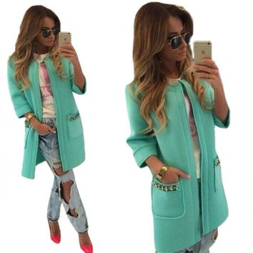 LMFONEJ Candy Color Long Open Stitch Classy Spring Trench Coat