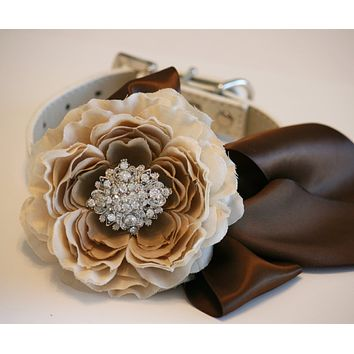 Floral Peonies Dog collar Wedding, Country rustic, Neutral wedding