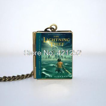 New Percy Jackson Covers-The  Thief and The Sea of Monsters Book Locket Necklace,  Bronze tone book jewelry