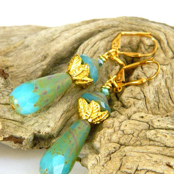 Gold and Turquoise Dangle Earrings Handcrafted Short Czech Glass